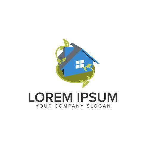 green 3D house logo design concept template