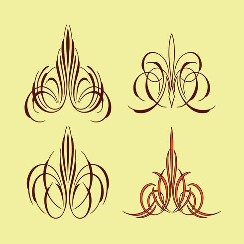 america pinstriping style collection set vector