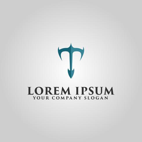 modèle de concept de design lettre luxe logo T vecteur