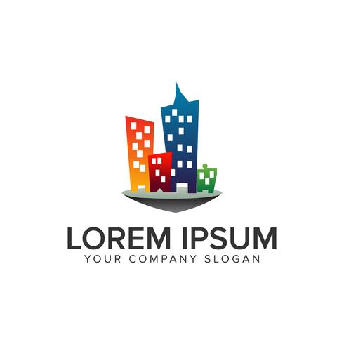 kleurrijke gebouw stad logo ontwerpsjabloon concept. volledig bewerkbare vector