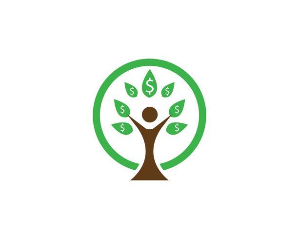 Modello di logo di vettore di identità di persone albero verde