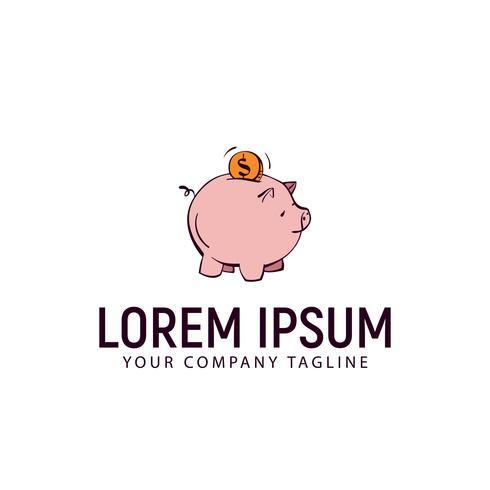 modèle de concept de finance cochon logo dessinés à la main