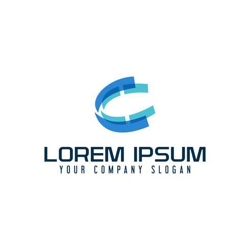 Logo della lettera C. modello di concetto di tecnologia multimediale tech vettore