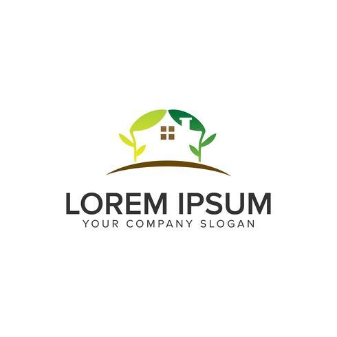 green house logo design concept template vector