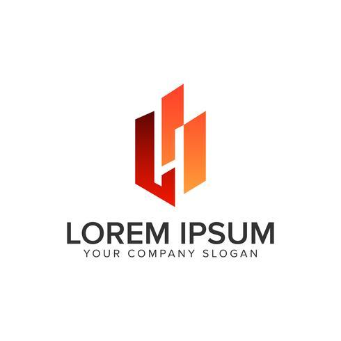Lettera H negativo spazio creativo unico logo design temp
