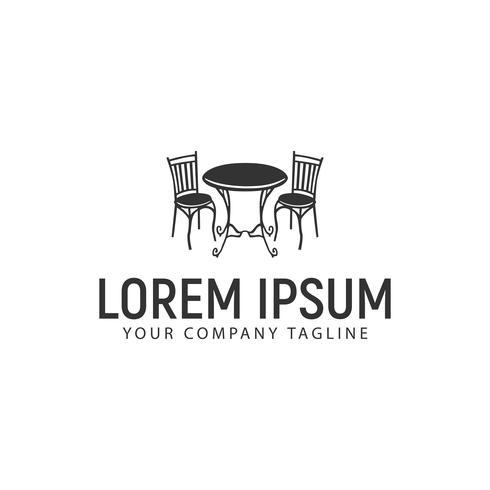 modello di concetto di design logo di sedia scrivania antica