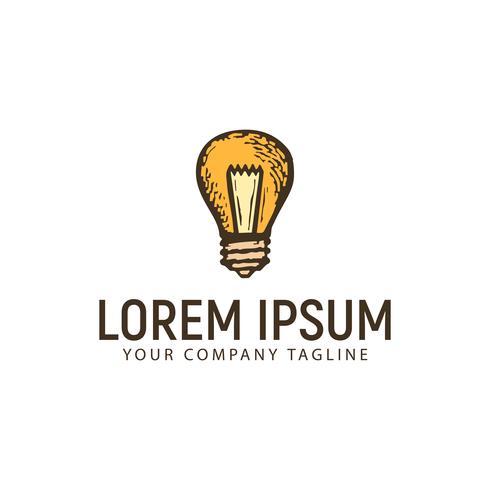 modello di concetto di progettazione logo disegnato a mano di lampada