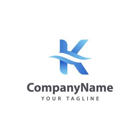 Letter K Wave logo design template.