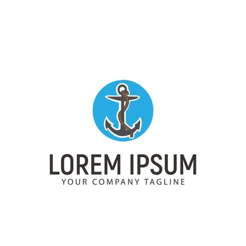 Anker hand gezeichnete Logo-Design-Konzept-Vorlage