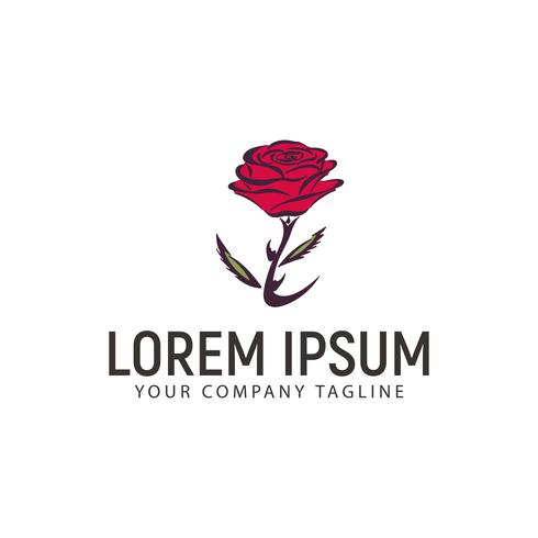 modèle de concept de design logo fleur rose