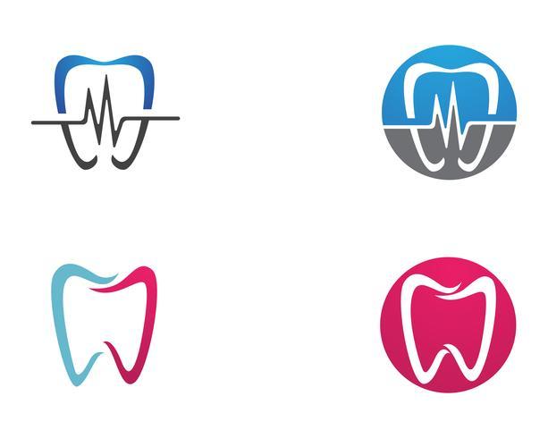 Ícones de modelo de logotipo e símbolos de cuidados dentários