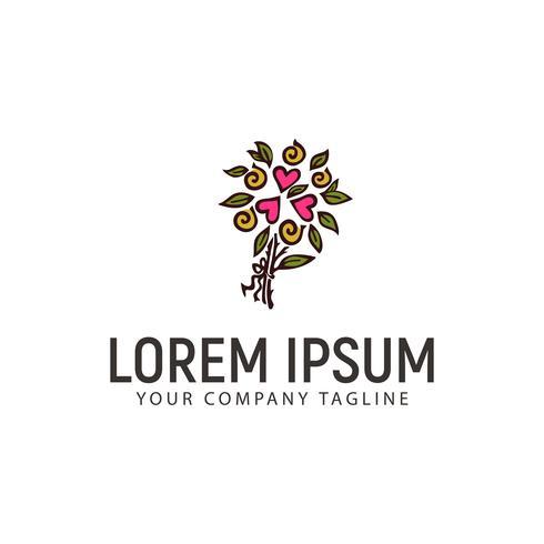 wedding flower arrangements logo hand drawn design concept templ