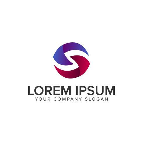 Letra S modelo de conceito de design de logotipo 3D círculo. totalmente editável
