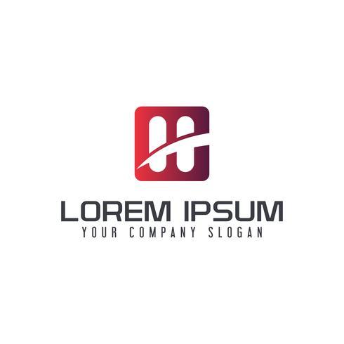 Modèle de concept de design lettre H logo carré