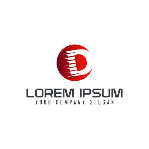 Modello di concetto di disegno di marchio velocità lettera D