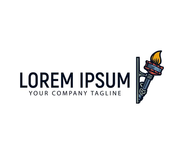 torch hand drawn logo design concept template vector