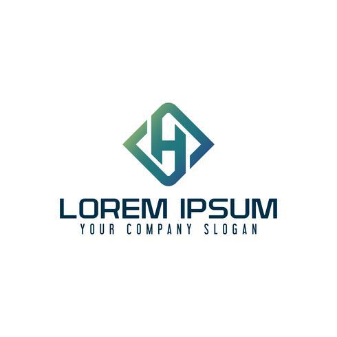 Logo de l'emblème de la lettre H. modèle de conception de technologie d'entreprise