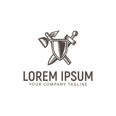 vapen och sköld logotyp. vintage handgjord designkoncept temp