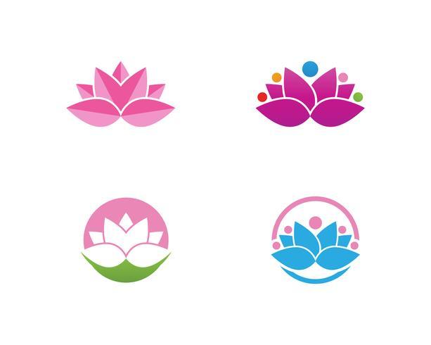 Signo de flor de loto para bienestar, spa y yoga vector