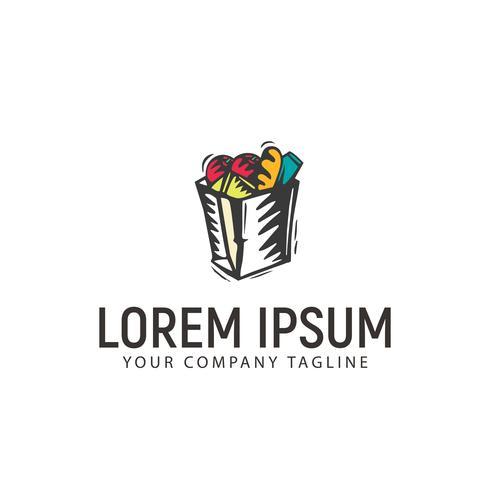 boodschappentas logo ontwerpsjabloon concept