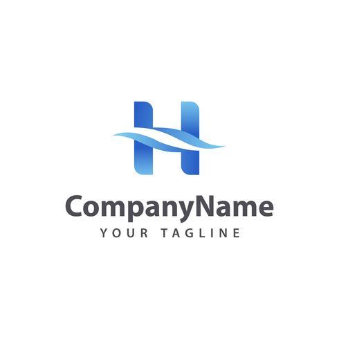 Letter H Wave logo ontwerpsjabloon.