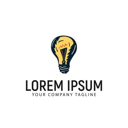 lamp lamp hand getrokken logo ontwerpsjabloon concept