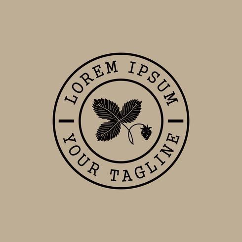modèle de concept de design logo fraise timbre