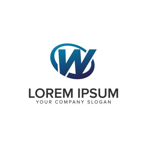 Lettre créative moderne W modèle de concept de design de logo. entièrement éd