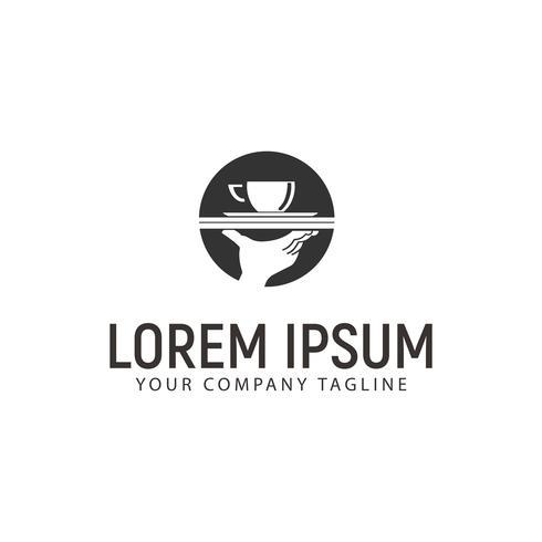 modello di concetto di design logo caffè e mano