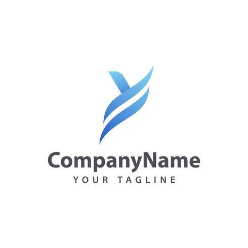 Plantilla de diseño de logotipo letra Y azul.
