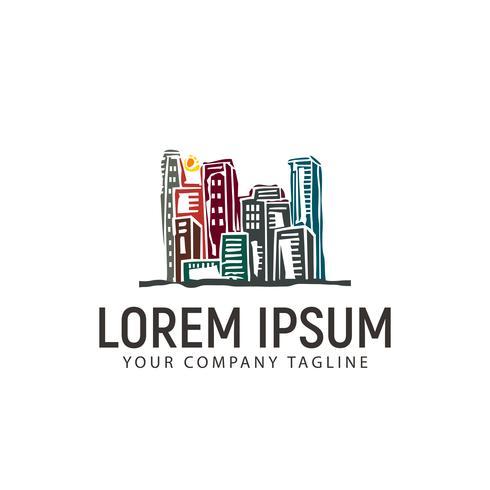 plantilla de concepto de diseño de logotipo de ciudad urbana dibujada a mano vector