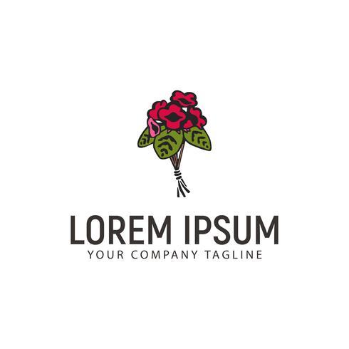 bruiloft bloemstukken logo hand getekend ontwerpconcept templ