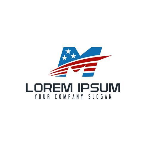modello di concetto di disegno di lettera M america logo