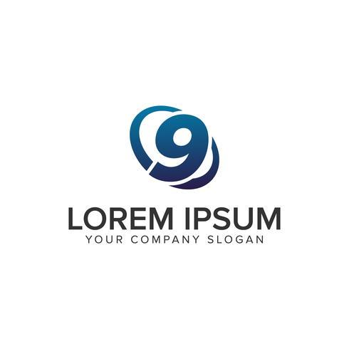 Creatieve moderne nummer 9 logo ontwerpsjabloon. volledig uitgewerkt