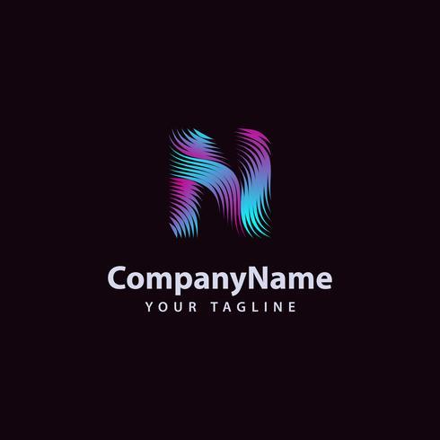 Letter N modern Wave line Logo design template.