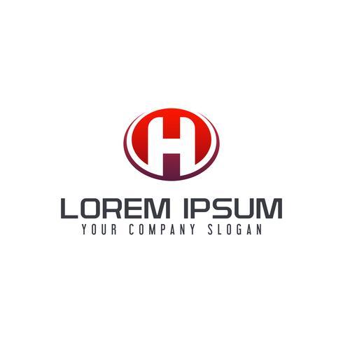 Modello di concetto di disegno di marchio dell'emblema della lettera H