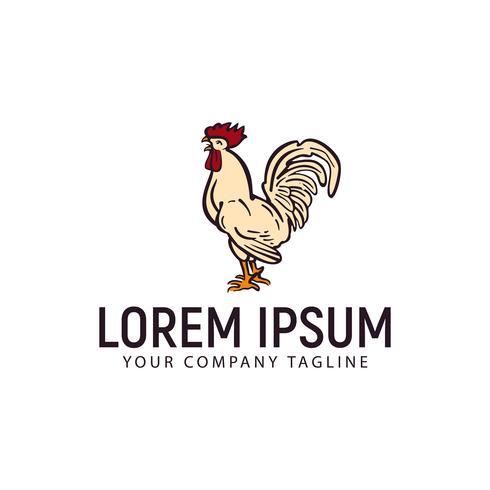 hen chicken logo. hand drawn design concept template vector