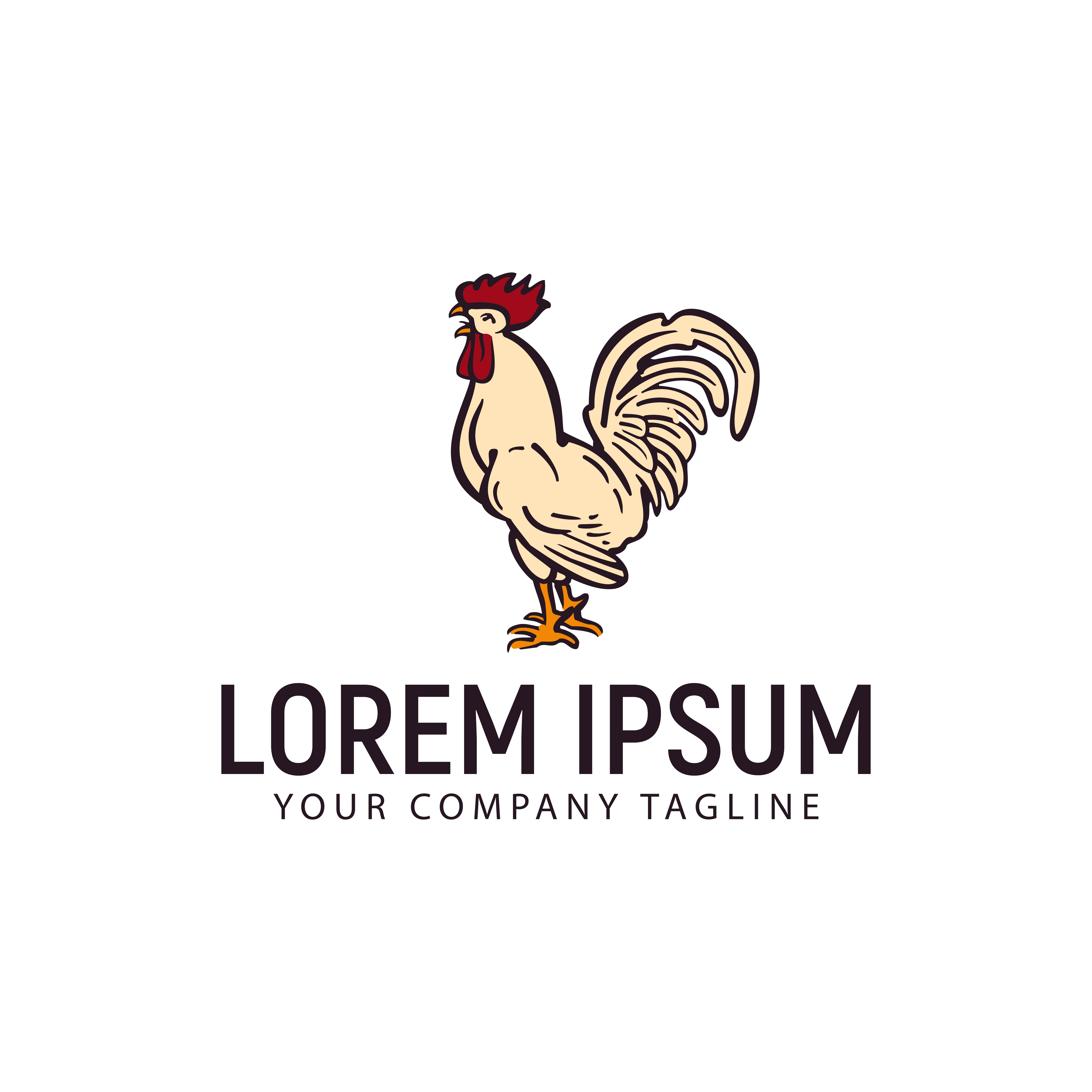 Bird Logo Template: Hen Chicken Logo . Hand Drawn Design Concept Template