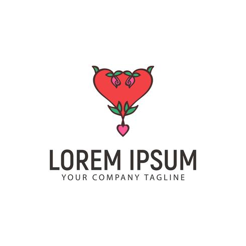 modello di concetto di disegno logo disegnato a mano amore fiore