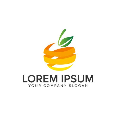3D orange fruit logo design concept template