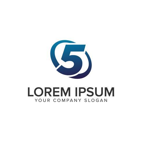 Modello moderno creativo di concetto di progettazione di logo di numero 5. completamente ed