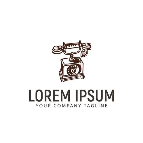 modello di concetto di design logo disegnato a mano classico telefono vettore