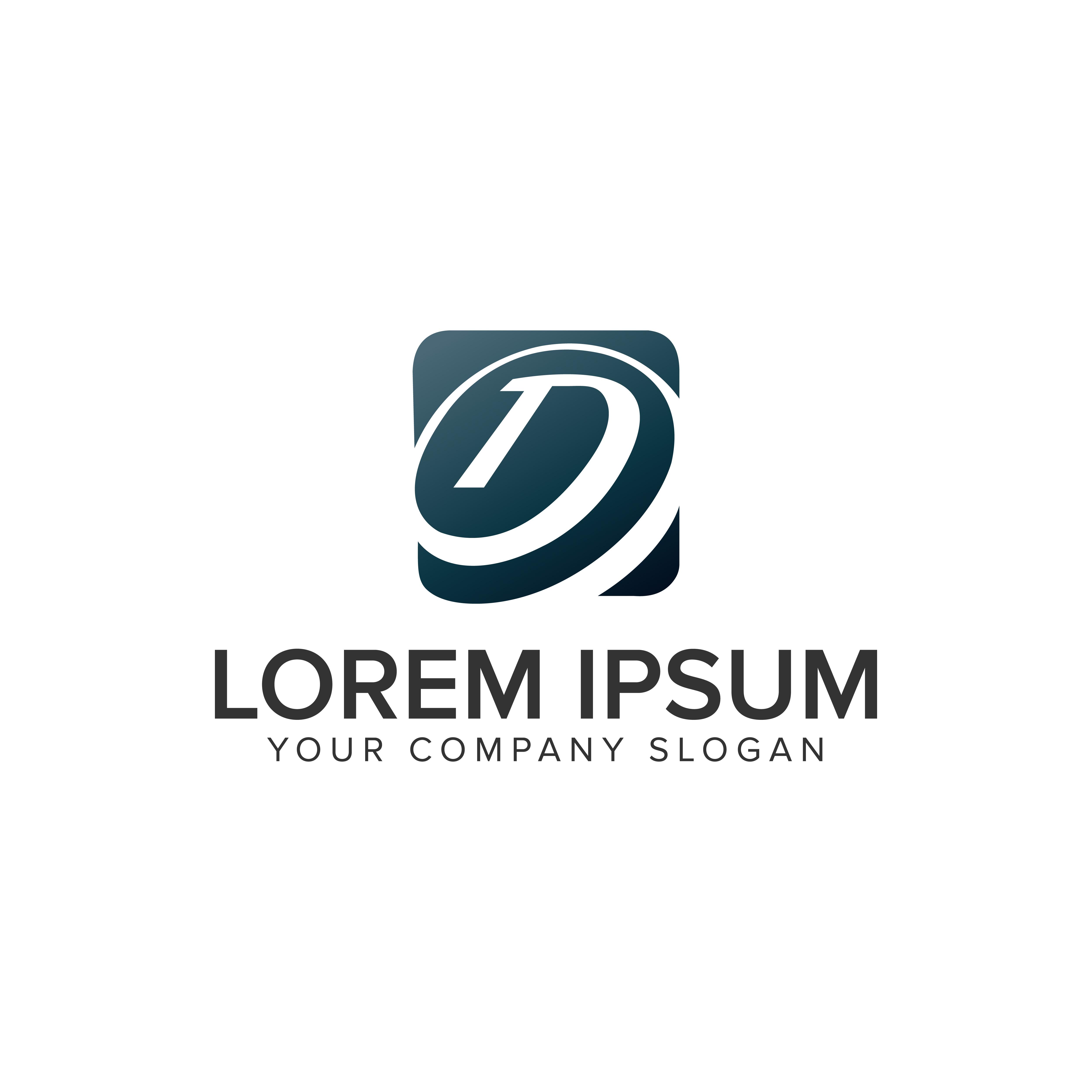 Letter D Logo Square Logo Design Concept Template. Fully