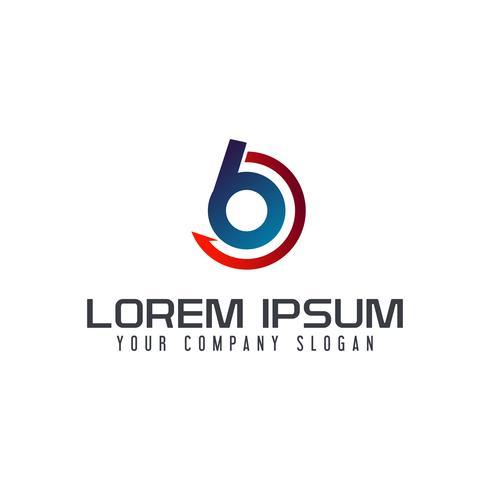 Modello di concetto di disegno di logo di freccia di lettera B.