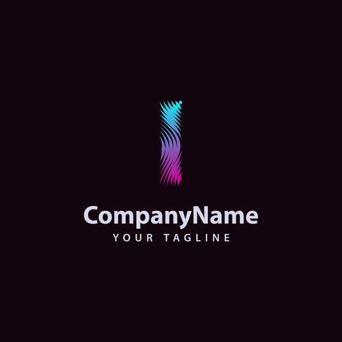 Letter I moderne Wave lijn Logo ontwerpsjabloon. vector