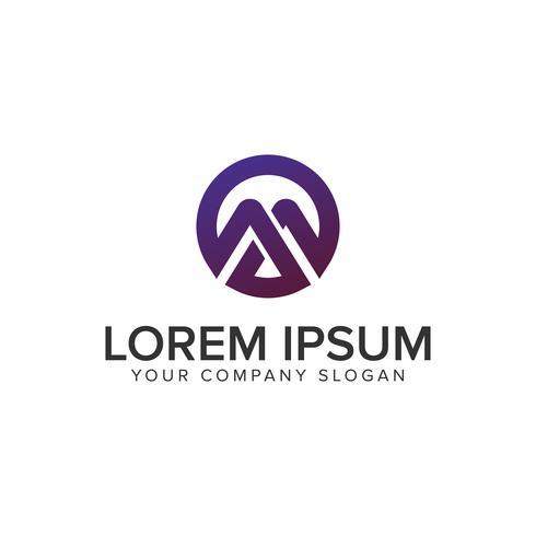 Modello di lettera moderna M cerchio logo design concept. completamente edita