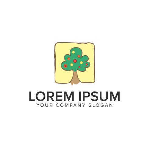 Modèle de concept de design arbre handrawn logo. vecteur