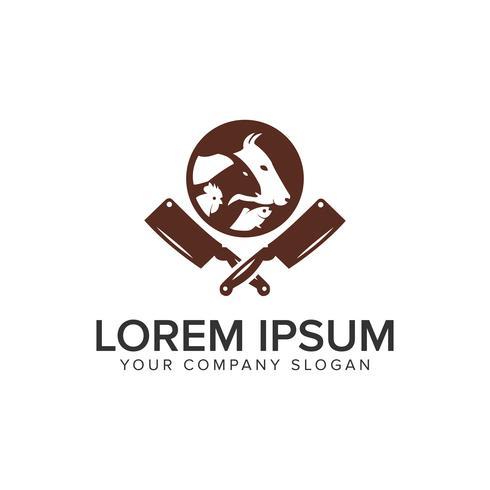 plantilla de concepto de diseño de logotipo de cocina de animales. vector