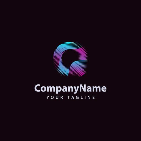 Letra Q moderna línea de onda plantilla de diseño de logotipo. vector