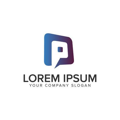 Letter P chat logo design koncept mall. helt redigerbar vecto
